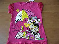 Детские нарядные футболки для девочек 1- 4 года  Турция хлопок