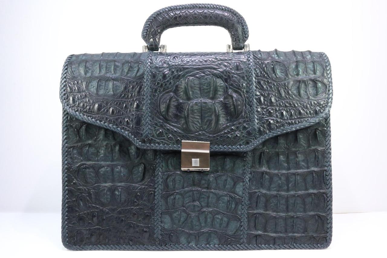 Портфель из крокодиловой кожи фактурный черный