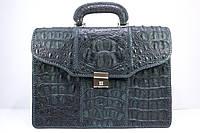 Портфель из крокодиловой кожи фактурный черный, фото 1