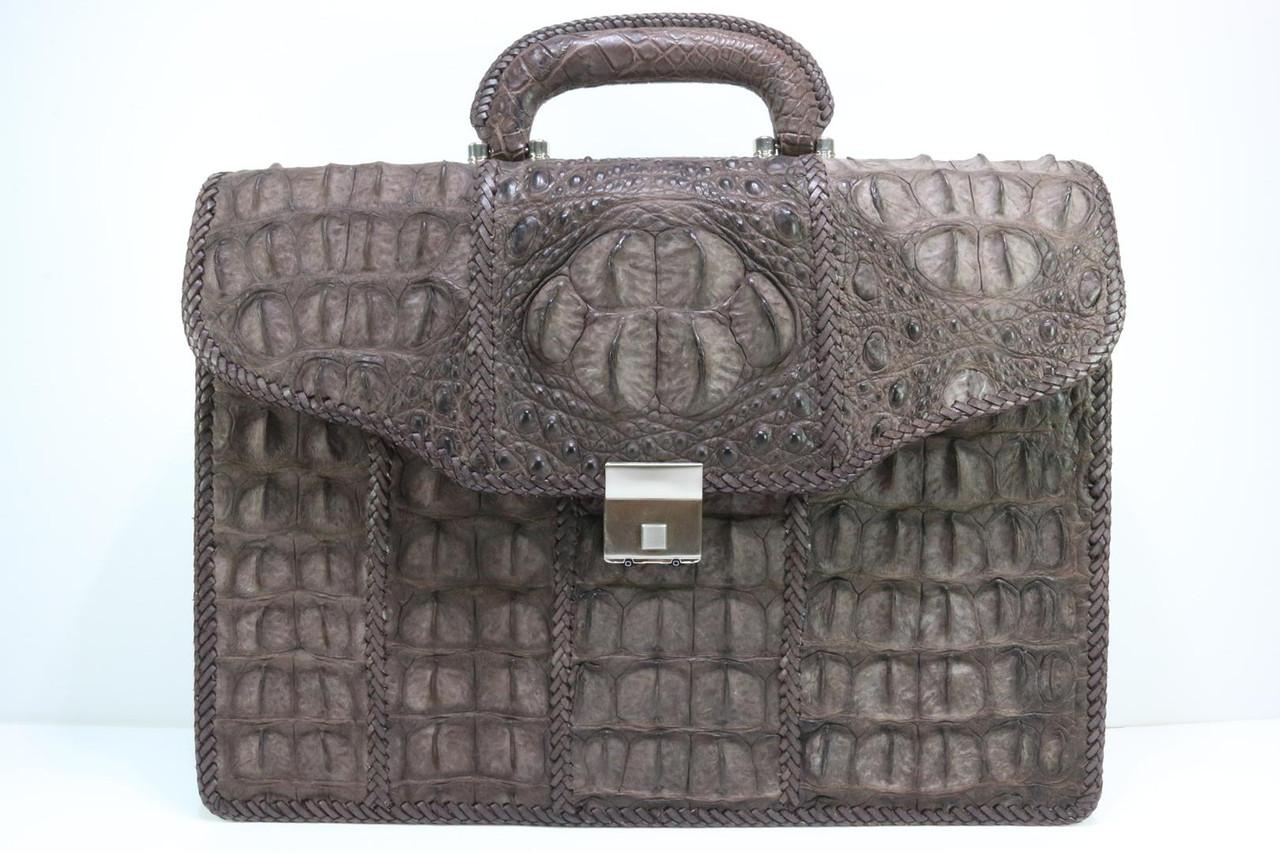 Портфель из крокодиловой кожи фактурный коричневый