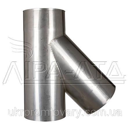 Тройник Ф160 45° Сталь усиленная AiSi321 0,8мм, фото 2