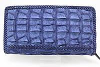 Кошелек из крокодиловой кожи в оплетке темно-синий, фото 1