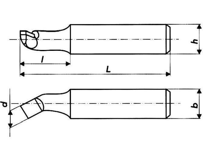 Резец расточной 20х20х200 ВК8, тип 1 (для обработки сквозных отверстий), правый ГОСТ 18882-73