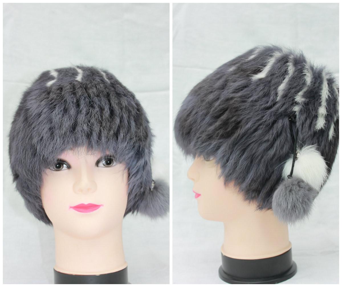 Жіноча хутрова шапка з кролика на трикотажній основі, від виробника, кубанка