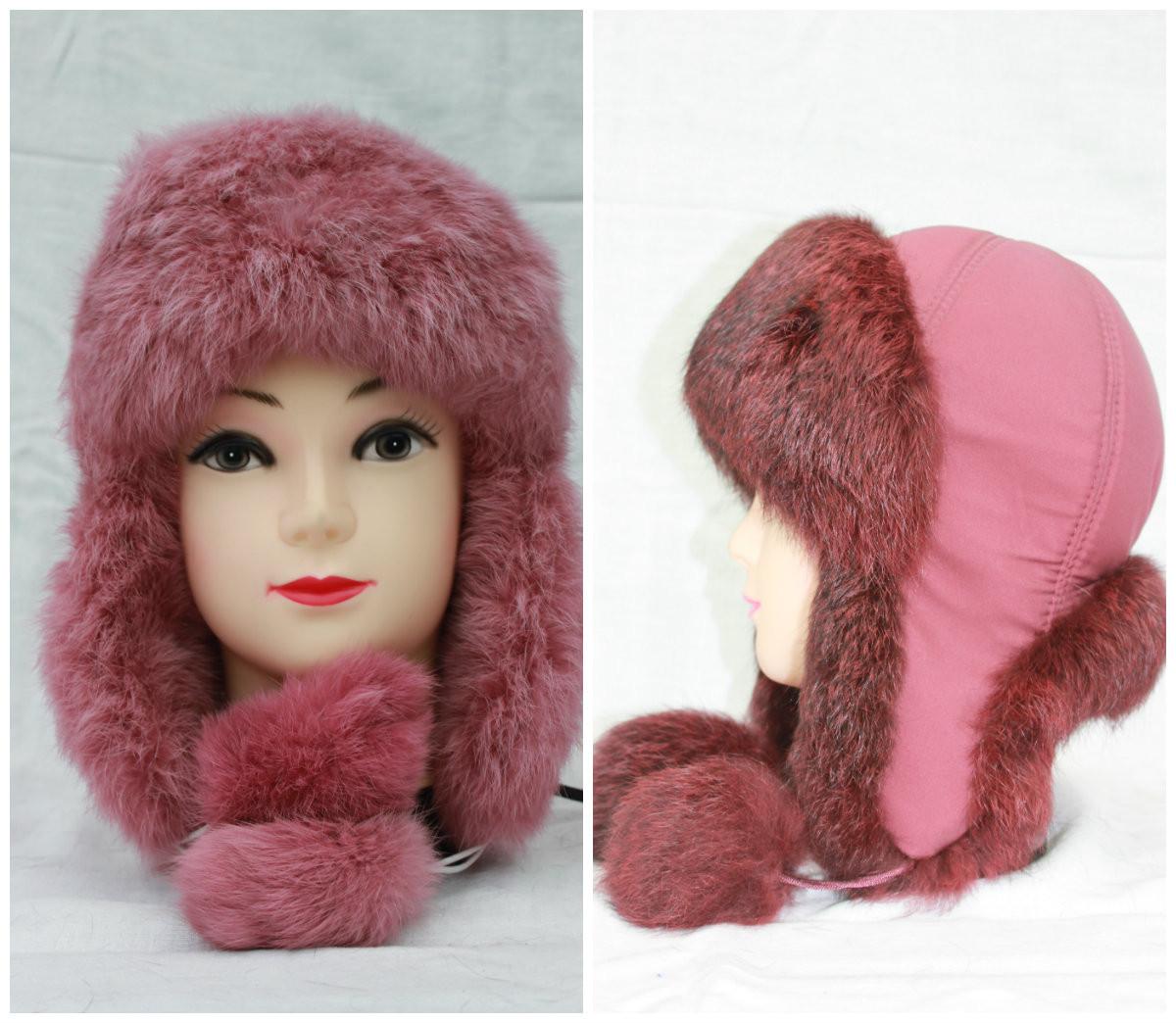 Дитяча хутряна шапка з кролика, вушанка, від виробника, рожева