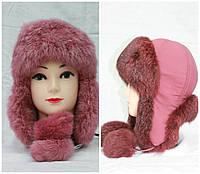 Детская меховая шапка из кролика, ушанка, от производителя, розовая