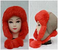 Детская меховая шапка из кролика, ушанка, от производителя, оранжевая