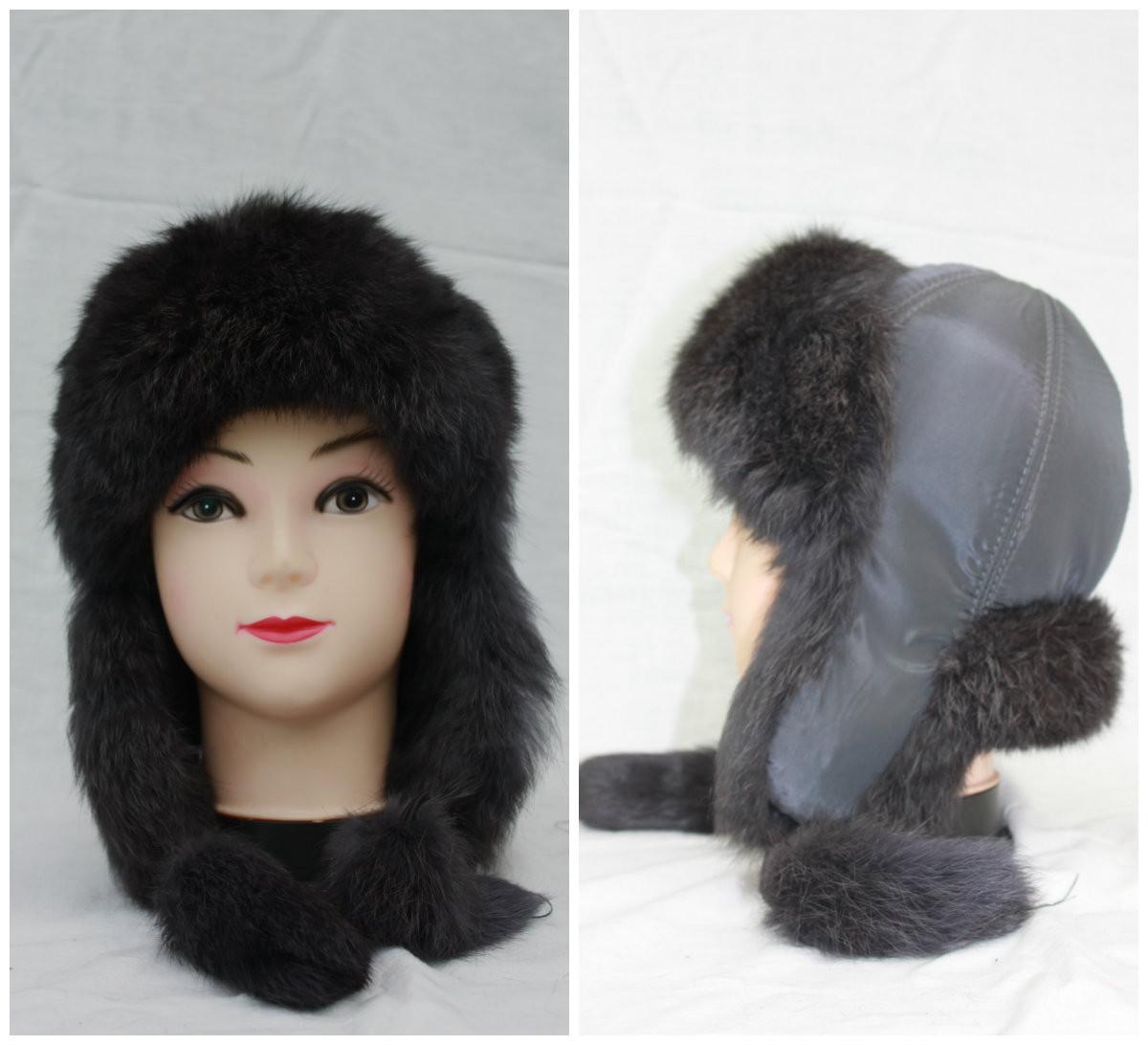 Дитяча хутряна шапка з кролика, хлопчик,вушанка, від виробника, сіра