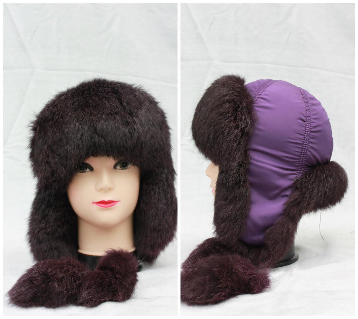 Дитяча зимова шапка з кролика, хлопчик, дівчинка, вушанка, від виробника, фіолетова