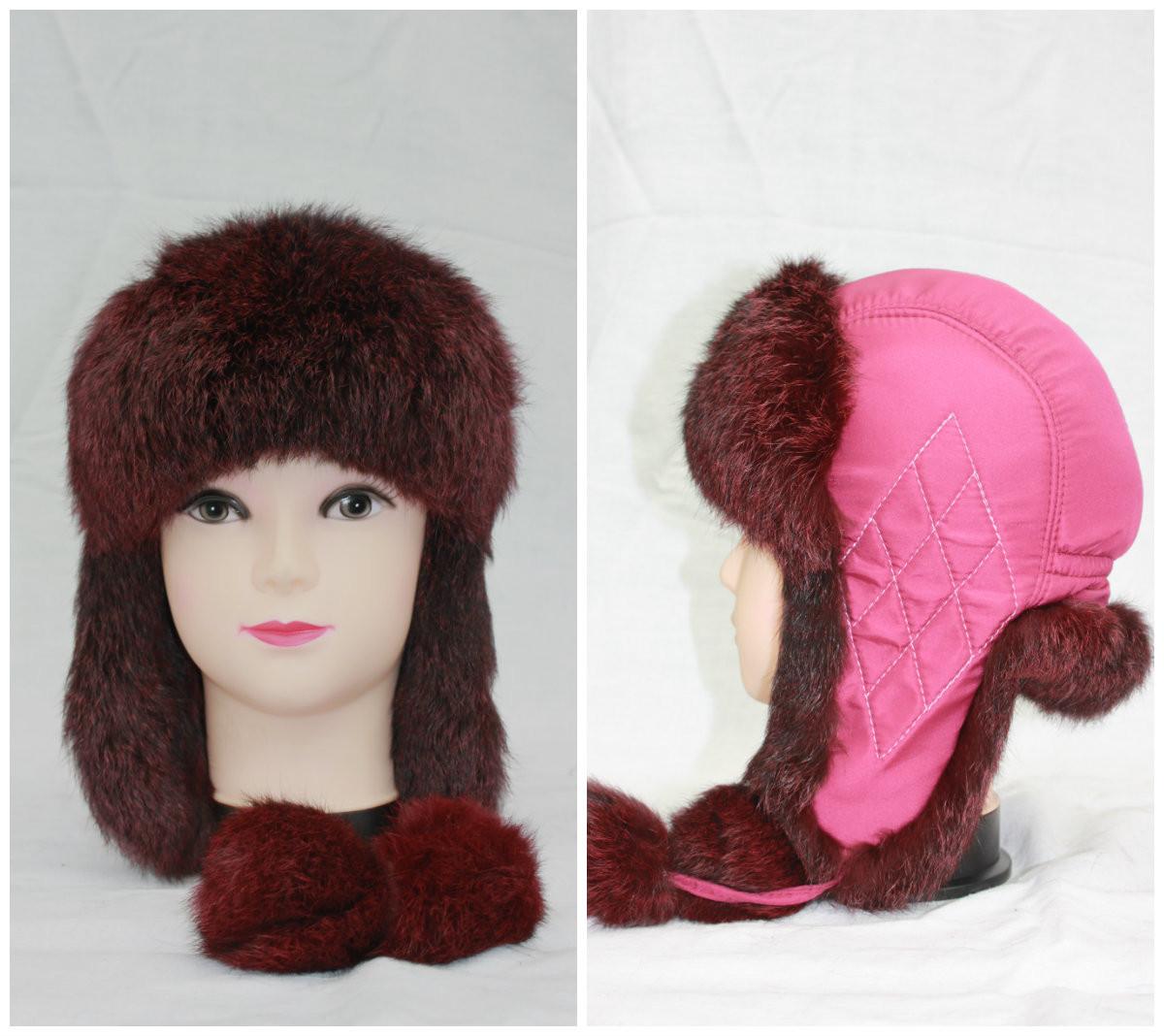 Дитяча хутряна шапка з кролика, дівчинка, вушанка, від виробника, різні кольори