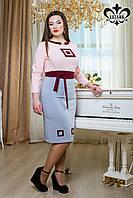 """Стильное молодежное платье """"Интуиция"""" (розовый+сероголубой)  весна/осень"""