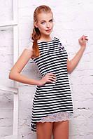 Стильное трикотажное платье в полоску+кружево