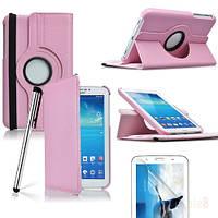 Розовый чехол для Galaxy Tab 3 7.0 SM-T2100  на поворотном кольце