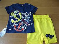 Детский летний костюм футболка + шорты Морской для мальчика 62 -74см  Турция  хлопок