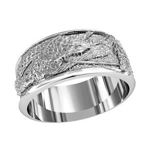 Кольцо мужское серебряное Дракон 750280