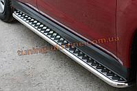 Боковые пороги  труба c листом (алюминиевым) D42 на Mitsubishi ASX 2010