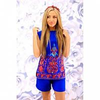 Костюм женский стильный блуза и шорты 284 синий,красивая одежда