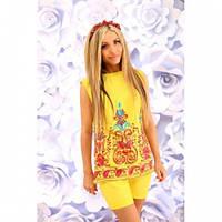 Костюм женский стильный блуза и шорты 284 желтый,красивая одежда