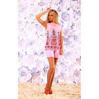 Костюм женский стильный блуза и шорты 284 розовый,красивая одежда