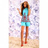 Костюм женский стильный блуза и шорты 284 голубой,красивая одежда