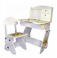 Парта регулируемая с полочками и ящиком, мольбертом Bambi W 072