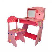 Парта регулируемая с полочками и ящиком для девочки Bambi W 071
