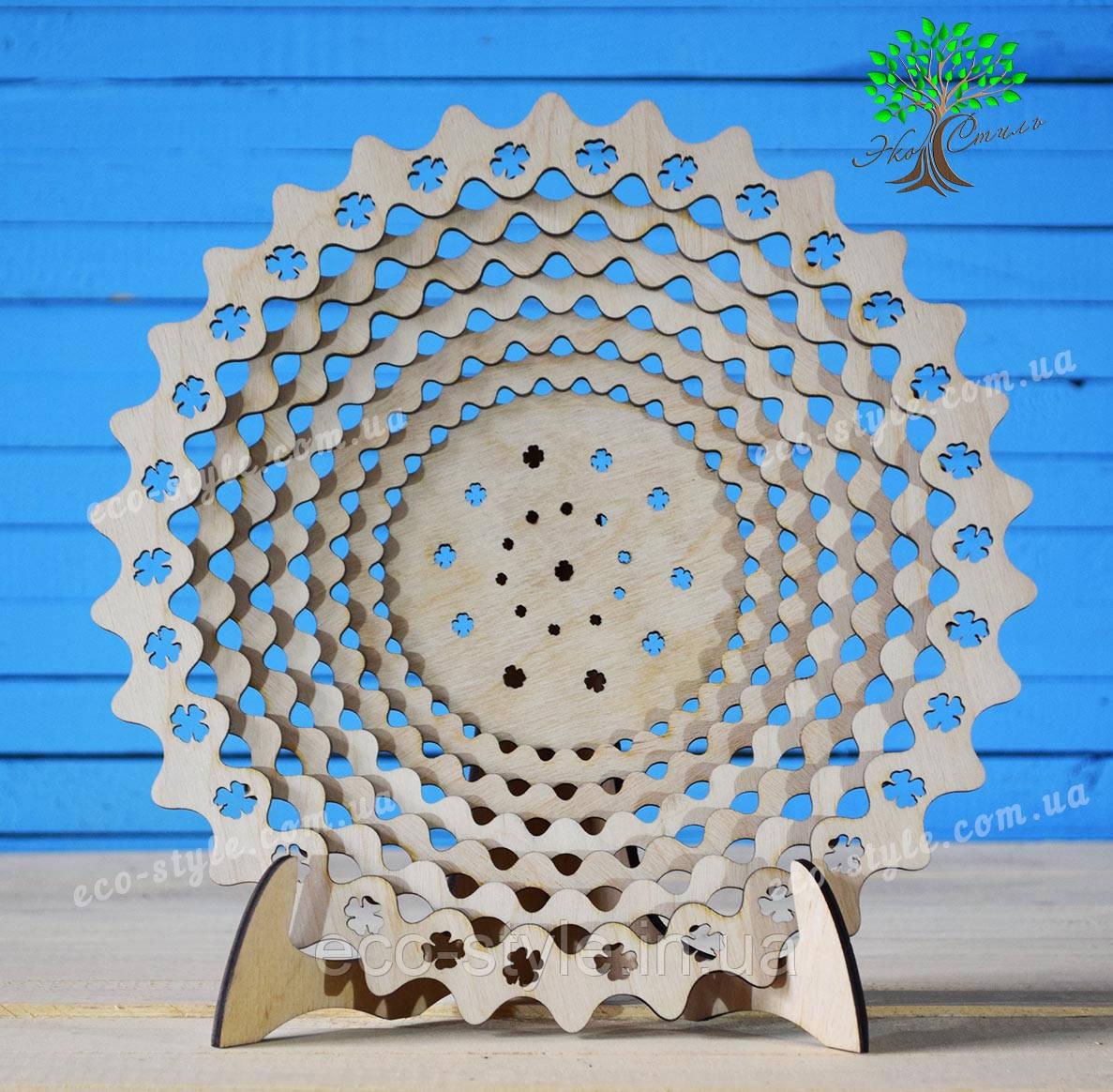 Деревянная тарелка, сувенирная тарелка, блюдо деревянное большое