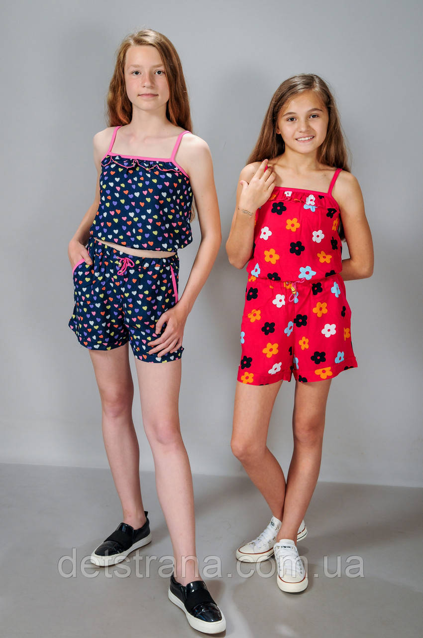 Дитячий літній костюм для дівчинки майка і шорти