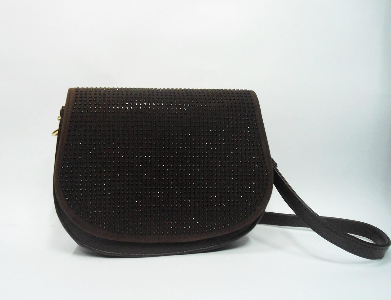 Клатч женский полукруглый коричневый с камешками на плечо - Интернет-  магазин