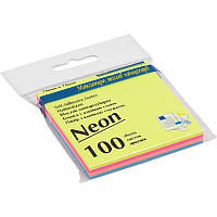 Блок бумаги для записей с клейким слоем BUROMAX ДЕКОР НЕОН 76х76