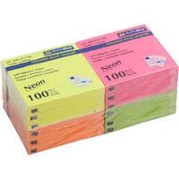 Блок бумаги для записей с клейким слоем BUROMAX НЕОН 76х76