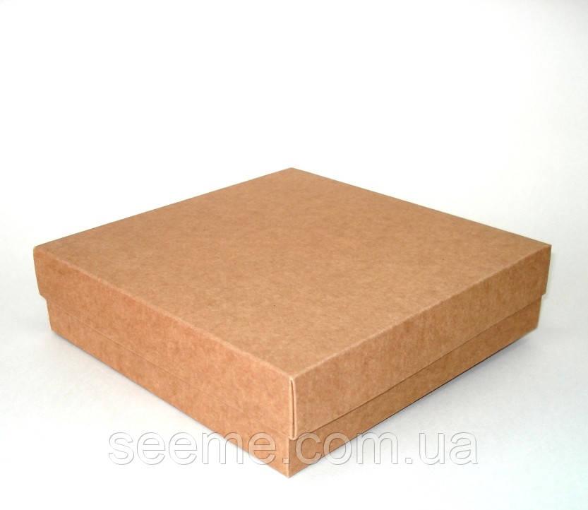 Коробка подарочная из крафт картона, 200х200х50 мм.
