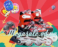 Раздвижные ролики с шлемом и комплектом защиты Combo Swift, красный: 31-35, 34-38 размер, мягкие PU колеса