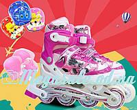 Раздвижные ролики с шлемом и комплектом защиты Combo Swift, розовый: 31-35, 34-38 размер, мягкие PU колеса