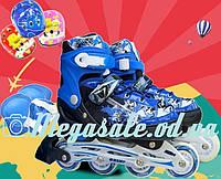 Раздвижные ролики с шлемом и комплектом защиты Combo Swift, синий: 31-35, 34-38 размер, мягкие PU колеса