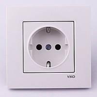 Розетка электрическая VI-KO Karre скрытой установки одинарная с заземления (белая)