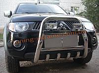 Защита переднего бампера кенгурятник высокий с надписью (нерж.) D70 на Mitsubishi L200 2006-2010