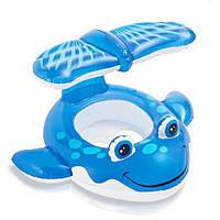 """Детский надувной круг для плавания с сиденьем INTEX 56593 """"Кит"""" (104х84 см), фото 1"""