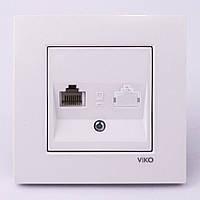 Розетка компьютерная VI-KO Karre скрытой установки (белая)