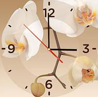 """Стильные стеклянные часы в зал квадратные """"Орхидея"""""""