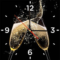 """Стеклянные часы квадратные """"Бокалы шампанского"""""""""""