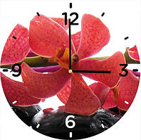 """Стеклянные часы круглые """"Орхидея"""""""