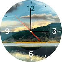 """Стеклянные часы круглые Вечерний пейзаж"""""""