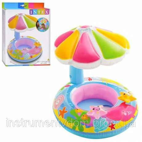 """Детский надувной круг для плавания с сиденьем и навесом INTEX 56583 """"Цветок"""" (112х64 см)"""