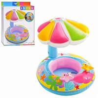 """Детский надувной круг для плавания с сиденьем и навесом INTEX 56583 """"Цветок"""" (112х64 см), фото 1"""