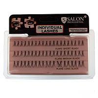Пучковые ресницы Salon Professional, SHORT/MEDIUM/LONG BLACK, комбинированные