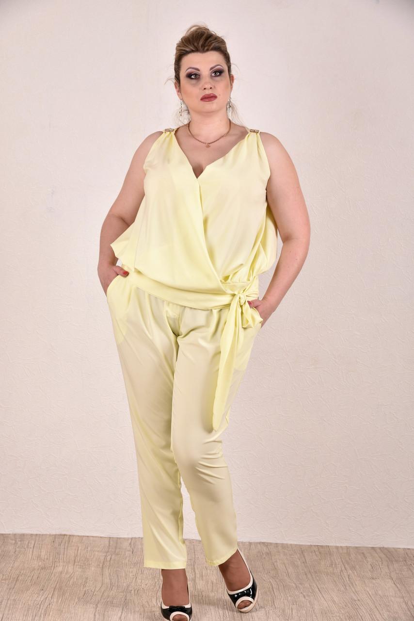 Женский легкий костюм на лето 0268-1 цвет желтый размер 42-74