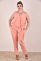 Женский легкий костюм на лето 0268-1 цвет персик размер 42-74
