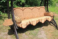 """Качели садовые """"Дубаи"""" черного/коричневого цвета (с мягкой частью), материал основы сидения - дуб, фото 2"""