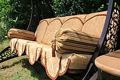 """Качели садовые """"Дубаи"""" черного/коричневого цвета (с мягкой частью), материал основы сидения - дуб, фото 3"""